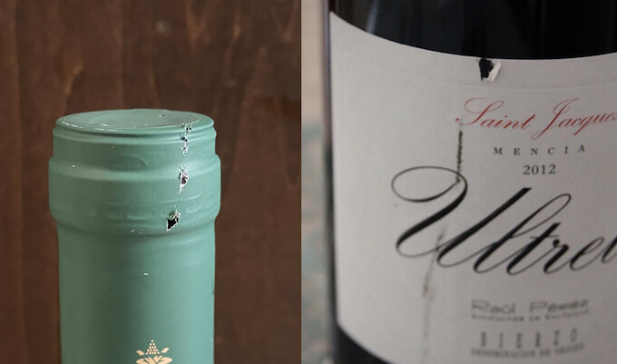 ワインのラベル・キャップシールの傷のイメージ