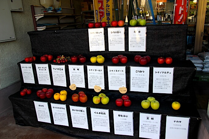 小布施町で栽培されているリンゴ