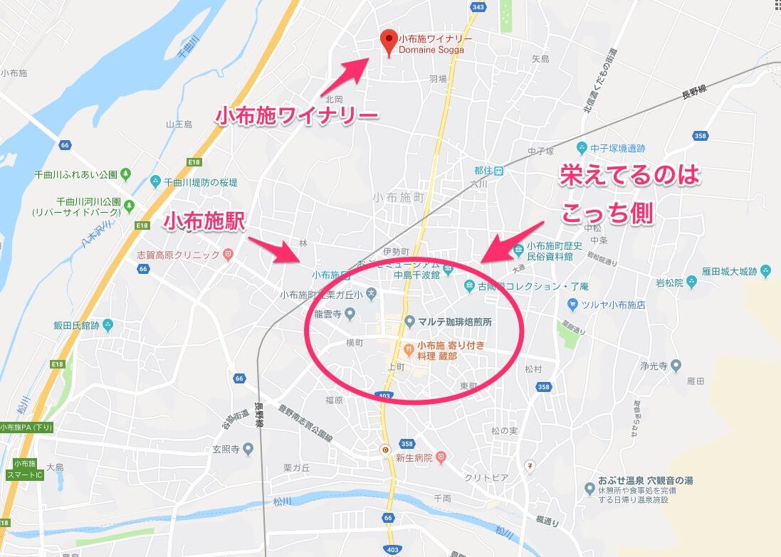 小布施町の地図