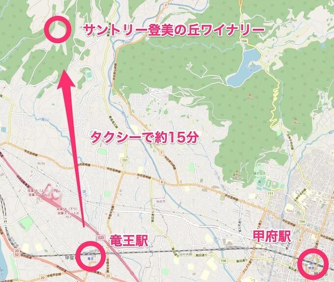 竜王駅から登美の丘ワイナリーまでのマップ