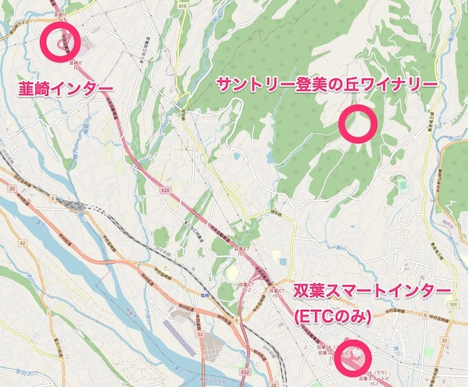 韮崎インター、双葉スマートインターから登美の丘ワイナリーへのマップ