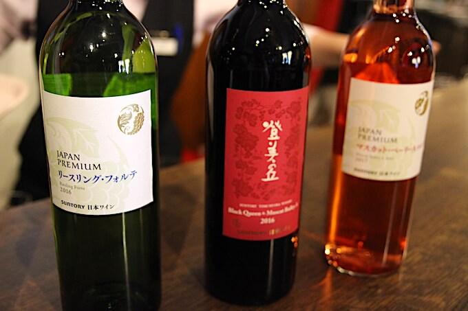 登美の丘ワイナリーツアーのテイスティングワイン