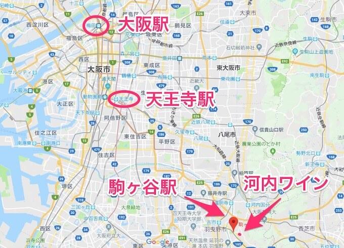 河内ワインと大阪の地図