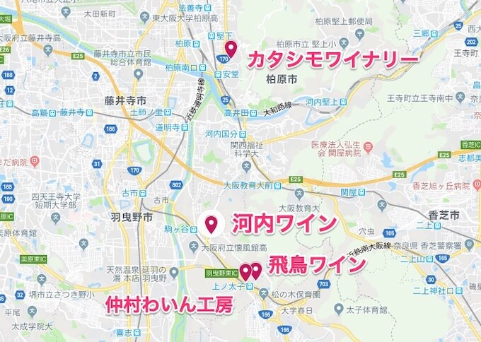 大阪のワイナリーマップ
