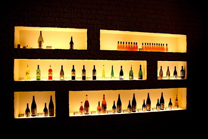 河内ワインのディスプレイ